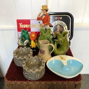 Assortment Of Pub Advertising Items Including Ash Trays