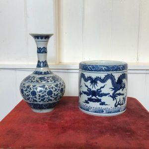 Blue And White Chinese Ceramic Brush Pot And Vase