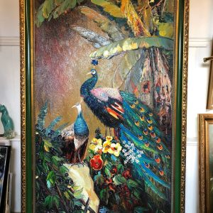 Large Peacock Oil Painting Gold Gilt Frame
