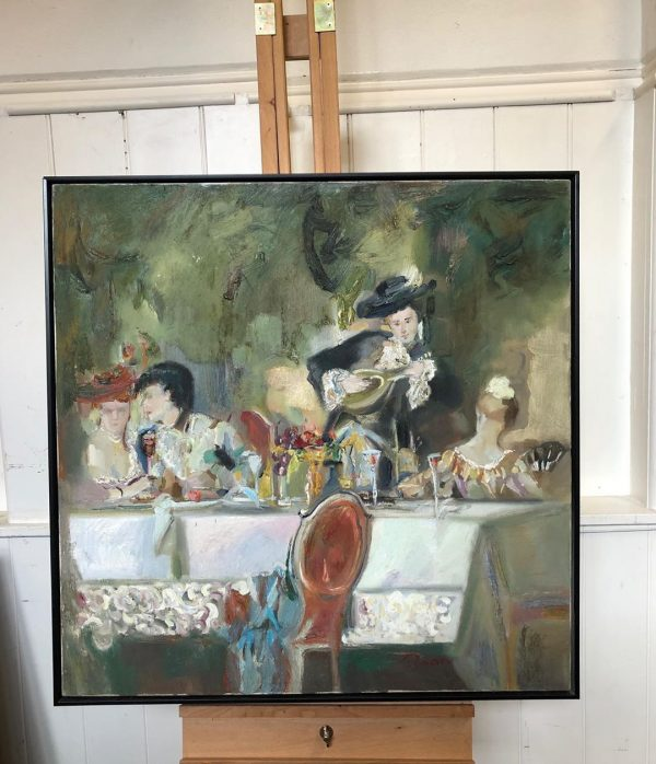 Musician At Dinner Oil Painting On Canvas Black Frame