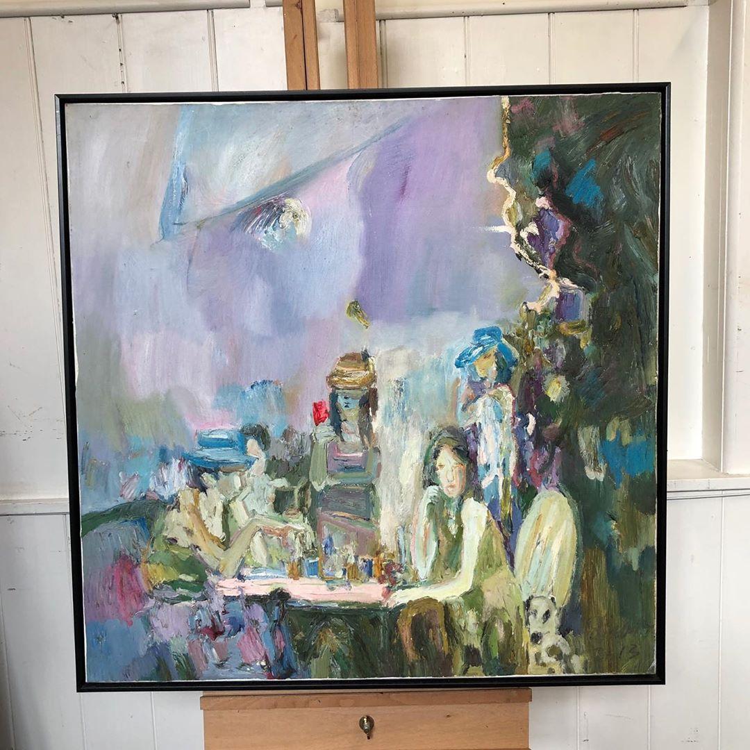 Tea In Garden Oil Painting On Canvas Black Frame